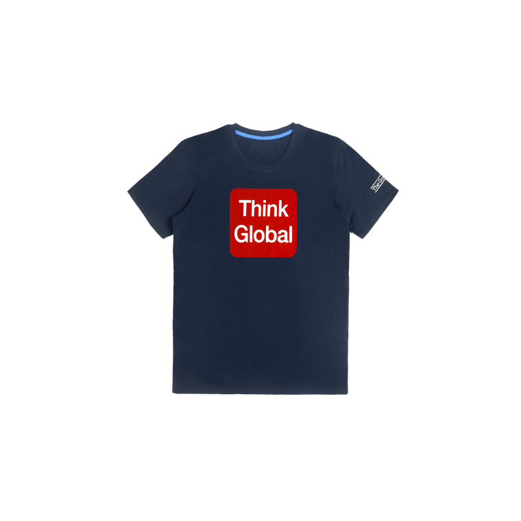 T-shirt Think Global - Bleu